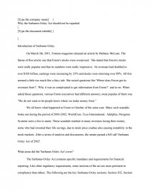 Essay on sarbanes-oxley act of 2002