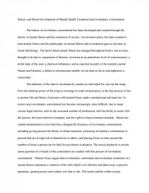 Synthesis Example Essay Essay Preview History And Moral Development Of Mental Health Treatment And  Involuntary Commitment Thesis Examples In Essays also How To Write A Thesis Essay History And Moral Development Of Mental Health Treatment And  Argumentative Essay Examples High School