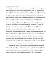 Indus Valley Civilization  Research Paper Essay Preview Indus Valley Civilization