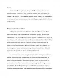 Positive discipline essay