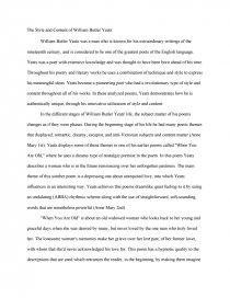the style and content of william butler yeats research paper zoom