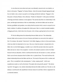 an analysis of the poem digging by seamus heaney research paper zoom zoom