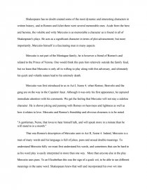 Romeo And Juliet Character Analysis  Mercutio  Research Paper Essay Preview Romeo And Juliet Character Analysis  Mercutio