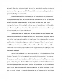 Romeo And Juliet Essay Fate - Book Report