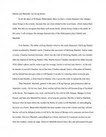 Comparison Essay Hamlet  Macbeth  Research Paper Similar Essays