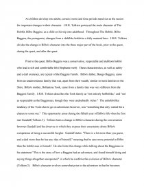 the development of the character of bilbo baggins college essays zoom