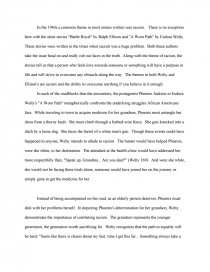 Theme Of Battle Royal By Ralph Ellison And A Worn Path By Eudora  Essay Preview Theme Of Battle Royal By Ralph Ellison And A Worn Path  By Eudora Welty