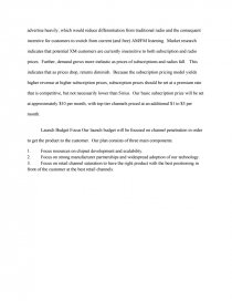Essay Preview Xm Satellite Radio Market Entry Plan