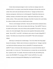 College English Essay Topics Similar Essays Thesis For Persuasive Essay also Health Essay Sample Teenager Stereotypes  College Essays English Essay Story