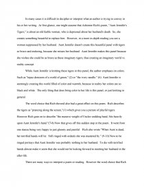 essay on aunt jennifers tigers