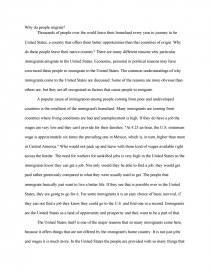 essay about why people immigrate