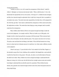 teenage responsibility college essays similar essays