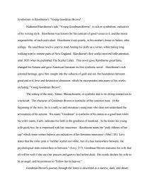 young goodman brown symbolism essay