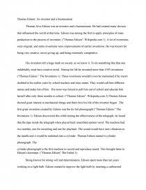 Thomas Edison An Inventor And A Businessman  Term Papers Essay Preview Thomas Edison An Inventor And A Businessman