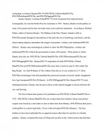 Thesis Essay Example Essay Preview Seamus Heaney As An Archeologist English As A Global Language Essay also Example Thesis Statements For Essays Seamus Heaney As An Archeologist  Essays High School Experience Essay