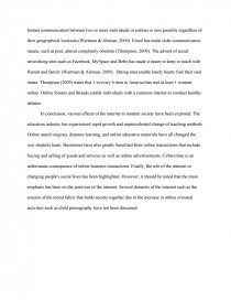 internet influence on youth essay