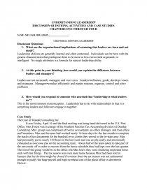 Understanding Leadership - Case Study
