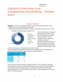 Industry Overview and Competitive Positioning - Amtek Auto