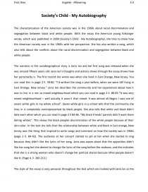 Literary Narrative Essay  Essay On Policeman also Solution Essays Societys Child  My Autobiography  Essay Examples Of Profile Essays