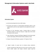 Management Information Systems Used in Axis Bank