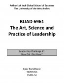 Buad6961 the Art, Science and Practice of Leadership